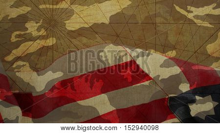 Veterans Day. Usa Flag and Camouflage Background poster