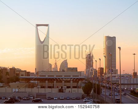 RIYADH - MARCH 01: Sunset over Riyadh downtown on March 01, 2016 in Riyadh, Saudi Arabia.
