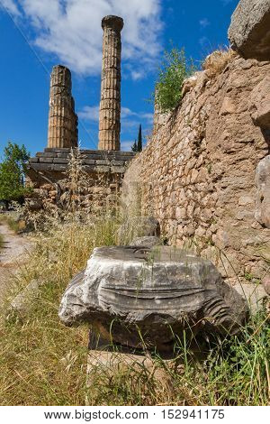 Amazing view with Columns in The Temple of Apollo in Ancient Greek archaeological site of Delphi,Central Greece