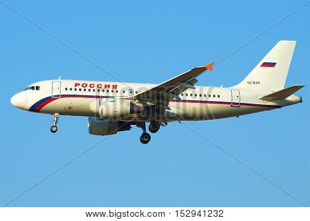 SAINT PETERSBURG, RUSSIA - MARCH 28, 2016: Airbus A319-111 (VQ-BAR) of the airline