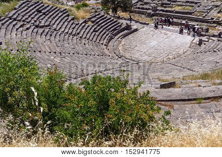 Panorama of ruins in Ancient Greek archaeological site of Delphi,Central Greece