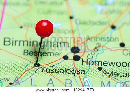 Tuscaloosa pinned on a map of Alabama, USA