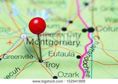 Troy pinned on a map of Alabama, USA