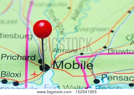 Mobile pinned on a map of Alabama, USA