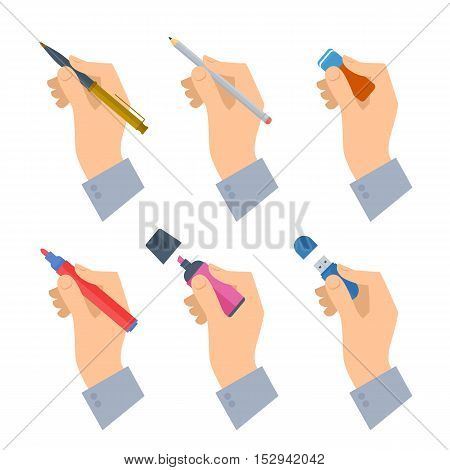 Men's hands with writing tools and office supplies set. Flat illustration of human male hands with stationery: pen pencil highlighter flash drive. Vector isolated on white background design element