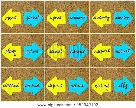 Antonym Concepts Written On Opposite Arrows