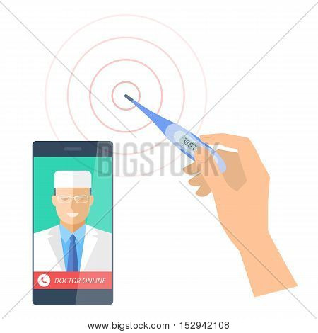 Smart phone with male doctor online and a hand is holding digital thermometer. Vector flat concept illustration of smartphone, medic and hand with an electronic instrument that measures temperature.smartphone medic and hand with an electronic instrument t