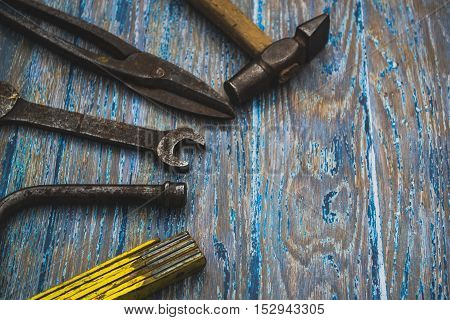 Set of rusty tools for the carpenter