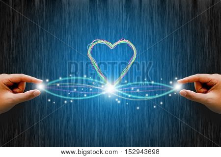 Fiber optic connection with line heart. love concept.