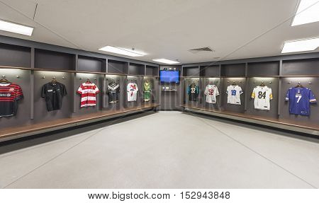 London, the UK - May 2016: in the changing room at Wembley stadium