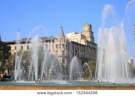 Barcelona, Spain - September 12, 2014: Fountain in Placa de Catalunya, Barcelona, Spain