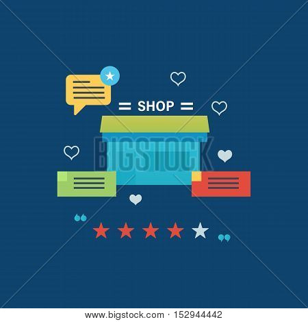 Concept illustration - online shopping, reviews and ratings work of store, delivery and products. Vector design for website, banner, printed materials and mobile app.