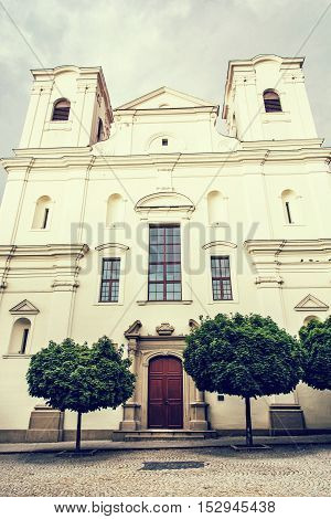 Jesuit church in Skalica Slovak republic. Religious architecture. Place of worship. Retro photo filter. Cultural heritage.