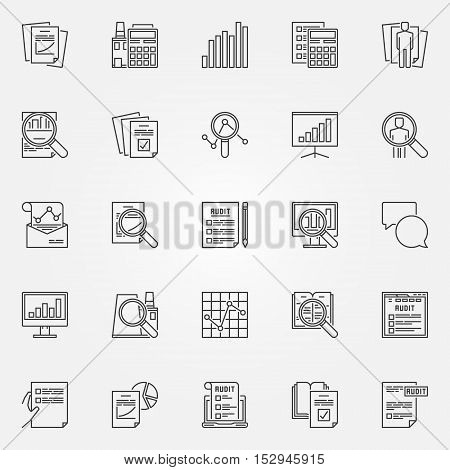 Audit icons set. Vector financial audit signs in thin line style. Business and analytics outline minimal symbols