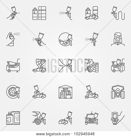 Car Painting icons set. Vector linear car paint symbols. Auto painting with spay gun signs in thin line style