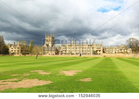 Merton College in Oxford University, Oxford, Oxfordshire, United kingdom. Photo taken from a public access ground