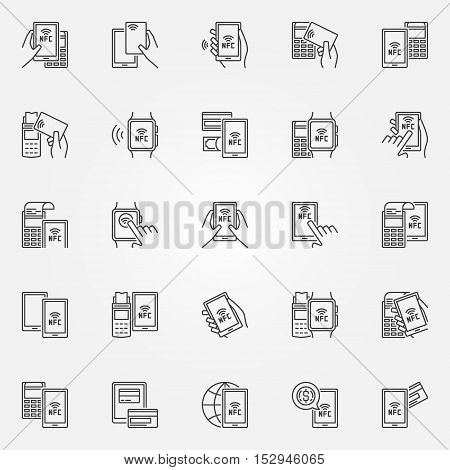 NFC payment icons. Vector collection of smartphone and card NFC paying with POS terminal signs in thin line style
