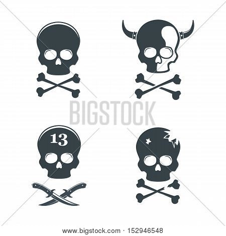 Set of skull. Design elements, icons, emblems and badges isolated on white background. Bones. Halloween. Danger