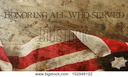 Honoring All Who Served. Veterans Day. Usa Flag and Wood
