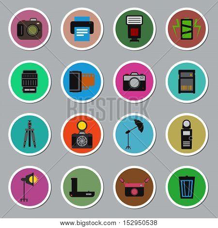Camera and accessory icon sticker set vector illustration