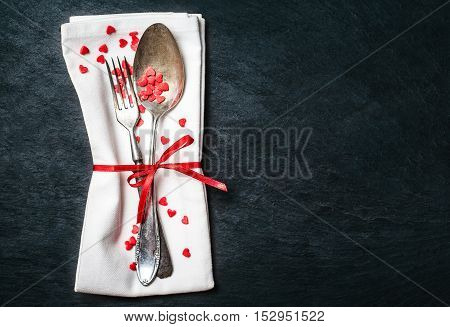 Beautiful valentines day table place setting. Holidays background