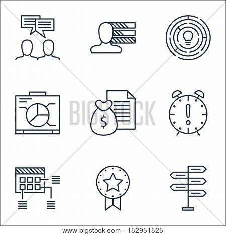 Set Of Project Management Icons On Schedule, Time Management And Opportunity Topics. Editable Vector
