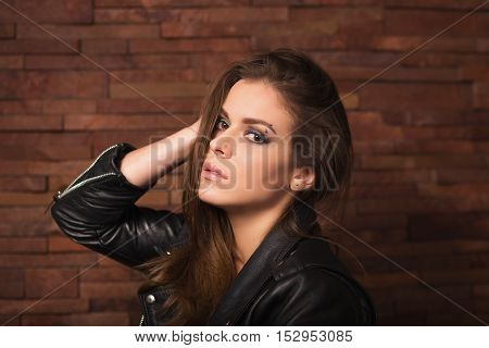 Stylish Woman With Leather Jacket