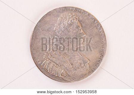 Silver ruble coin 1729 Russian emperor Peter II Autocrat