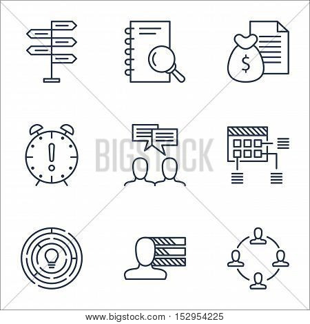 Set Of Project Management Icons On Opportunity, Discussion And Collaboration Topics. Editable Vector