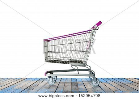 shopping carts on the wooden floor white background