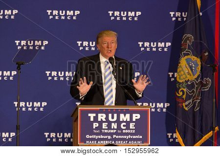 Gettysburg PA USA - October 22 2016: Presidential candidate Donald Trump announces plans for his first 100 days of his administration.
