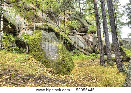 Huge boulders on a hill in the foothills of the Sayan Mountains