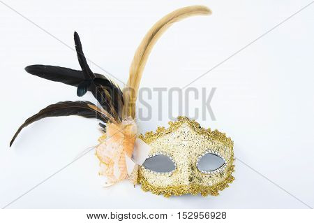 Fancy mask accessories obscuring the face of the party.