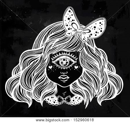 Cute cyclops monster girl. Portrait of young beautiful lady with one eye and lovely hair with a ribbon for t-shirt design or post card. Fashion sketch vector illustration. Weird gothic art. Halloween.