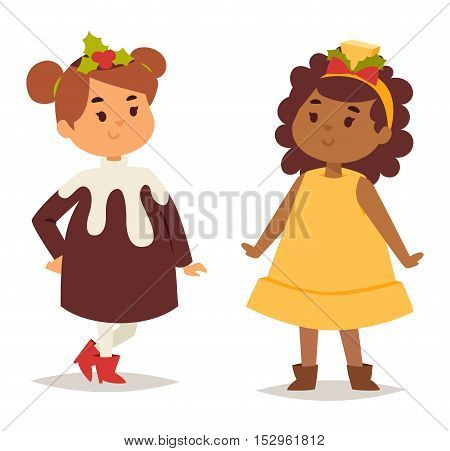 Illustration of cute kid carnival holiday costumes. People happy girl carnival costume kid little young dress. Fun holiday portrait cheerful carnival costume kid vector