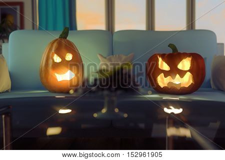 3d rendering of horrified pumpkins sitting on the sofa in modern living room