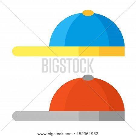 Blue baseball cap isolated on white vector. Sport baseball cap, baseball fashion clothing hat. Teenager baseball cap