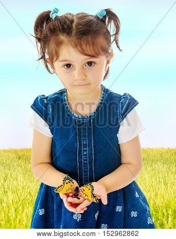 Adorable little girl with short pigtails on her head, holding a large butterfly, close-up.On the background of green grass and blue sky with clouds.
