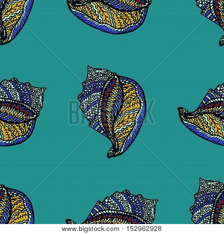 Zentangle stylized sea cockleshell seamless pattern. Hand Drawn aquatic doodle vector illustration.Ocean life. For textile, fashion, wrapping, wallpapers, anti stress adult coloring pages.