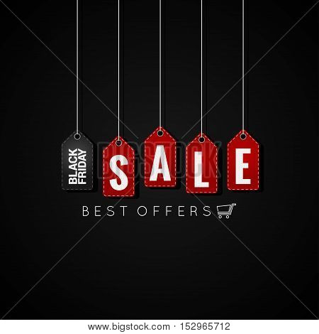Black Friday sale tags on black background 10 eps