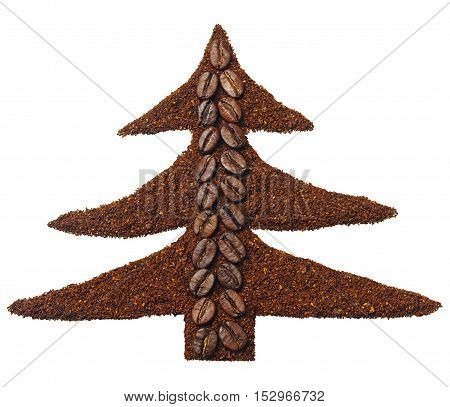 Ground coffee and coffee beans in the shape of Christmas tree isolated on white
