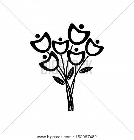 Black and white flowers.Spring flowers with white background. Black and white floral collection with leaves and flowers