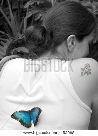 Blue Butterfly On Black And White Lady