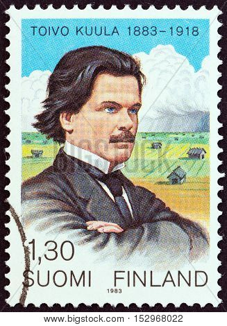 FINLAND - CIRCA 1983: A stamp printed in Finland issued for the birth centenary of Toivo Kuula shows composer Toivo Kuula and Ostrobothnia, circa 1983.