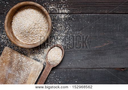 Oat Bran In The Wooden Bowl