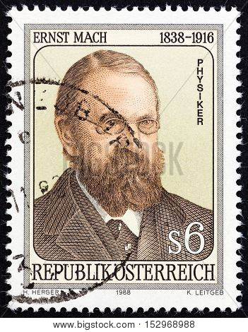 AUSTRIA - CIRCA 1988: A stamp printed in Austria issued for the 150th anniversary of the birth of Ernst Mach shows physicist and philosopher Ernst Mach, circa 1988.