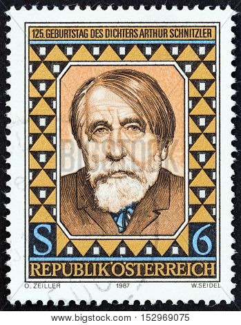 AUSTRIA - CIRCA 1987: A stamp printed in Austria issued for the 125th anniversary of the birth of Arthur Schnitzler shows author and dramatist Arthur Schnitzler, circa 1987.