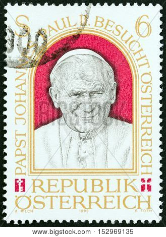 AUSTRIA - CIRCA 1983: A stamp printed in Austria issued for the Papal Visit to Austria shows Pope John Paul II, circa 1983.