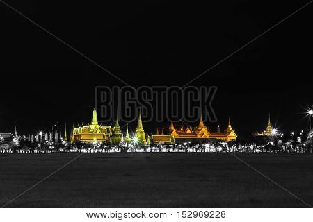 Black And Whte Effect With Specific Color Of Wat Pra Kaew Public Temple Grand Palace At Night, Bangk