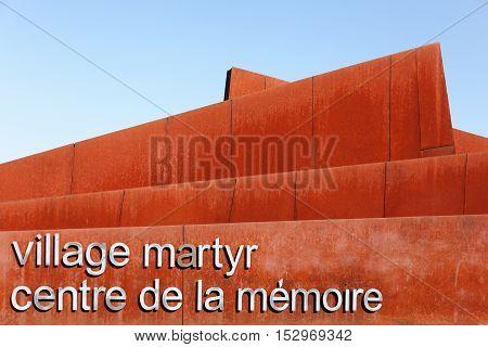 Oradour sur Glane, France - June 23, 2016: The memorial center of Oradour sur Glane besides the destroyed village of Oradour sur Glane in June 1944, France